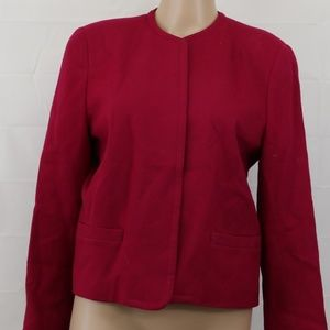 Talbots sz 8 100% wool blazer jacket pink career